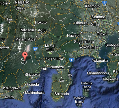Location of falling building in Ikawa, Japan