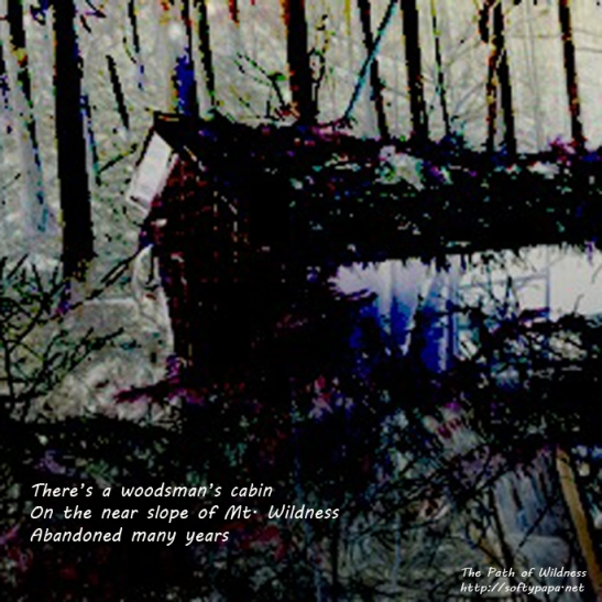There's a woodsman's cabin On the near slope of Mt Wildness Abandoned many years - The Path of Wildness - MEME
